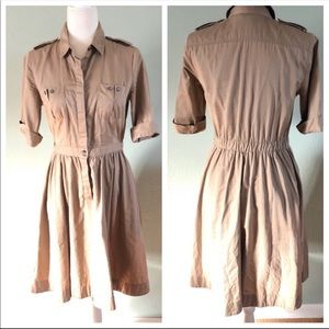 Club Monaco cotton tan button up dress